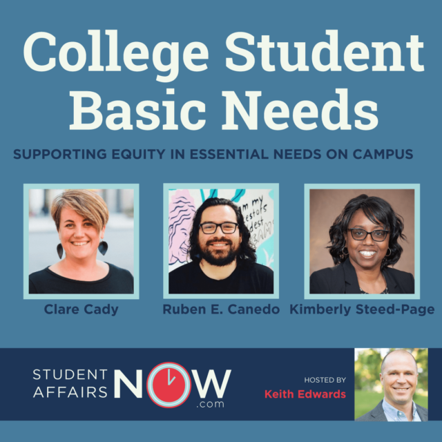 """thumbnail graphic that reads """"College Student Basic Needs"""" with three headshots of speakers on the podcast"""
